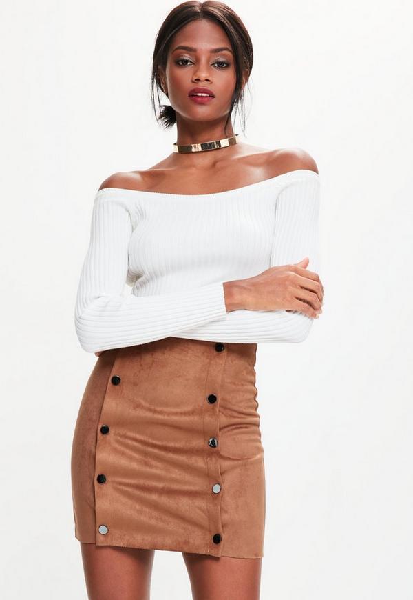 Orange Faux Suede Double Popper Detail Mini Skirt