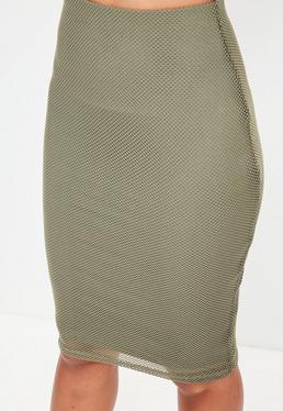 Khaki Lined Mesh Midi Skirt