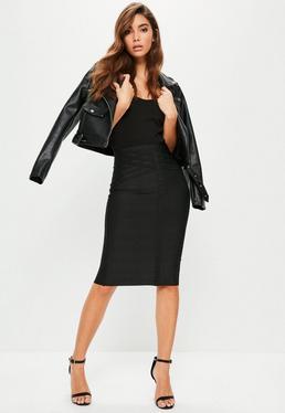Black Bandage Front Seam Detail Midi Skirt