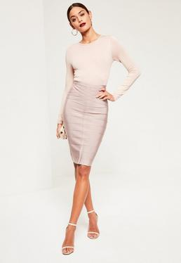 Purple Bandage Front Seam Detail Midi Skirt