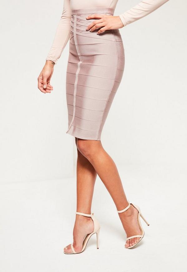 purple bandage front seam detail midi skirt missguided
