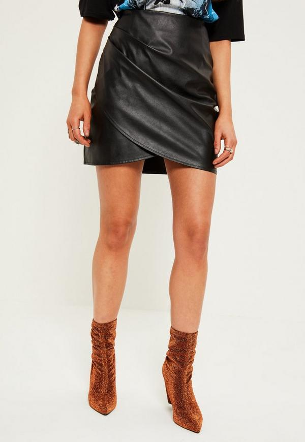 0705e94d7 Black Wrap Front Faux Leather Mini Skirt | Missguided