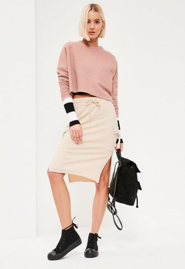 Nude Split Side Pocket Detail Midi Skirt