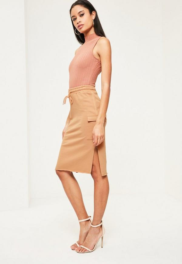 Nude Split Side Pocket Detail Midi Skirt