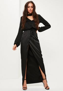 Black Skinny Belt Split Maxi Skirt