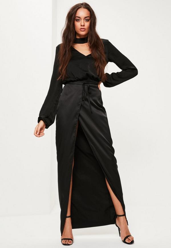 Black Skinny Belt Split Maxi Skirt