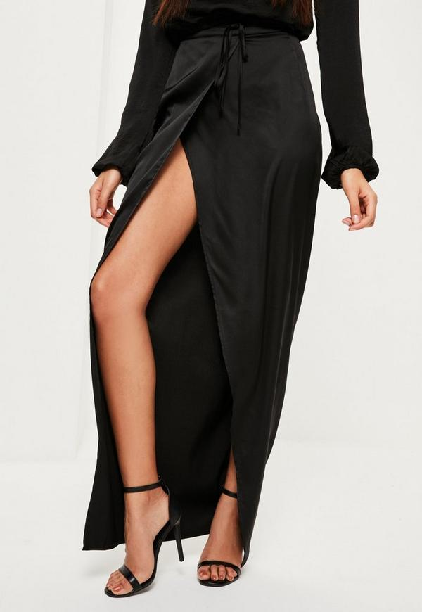 Black Skinny Belt Split Maxi Skirt | Missguided