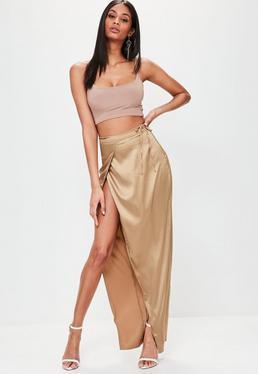 Złota spódnica maxi z wiązaniem w pasie