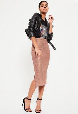 Rose Gold Metallic Knit Ribbed Midi Skirt