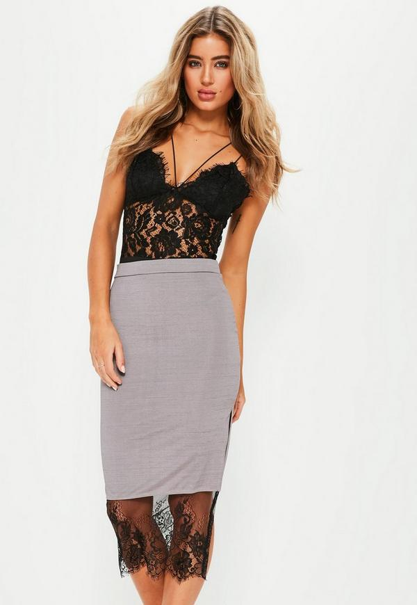 Lilac Slinky Lace Hem Midi Skirt