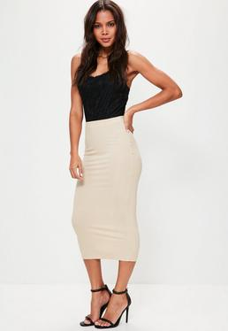 Nude Jersey Longline Midi Skirt