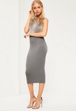 Grey Jersey Longline Midi Skirt