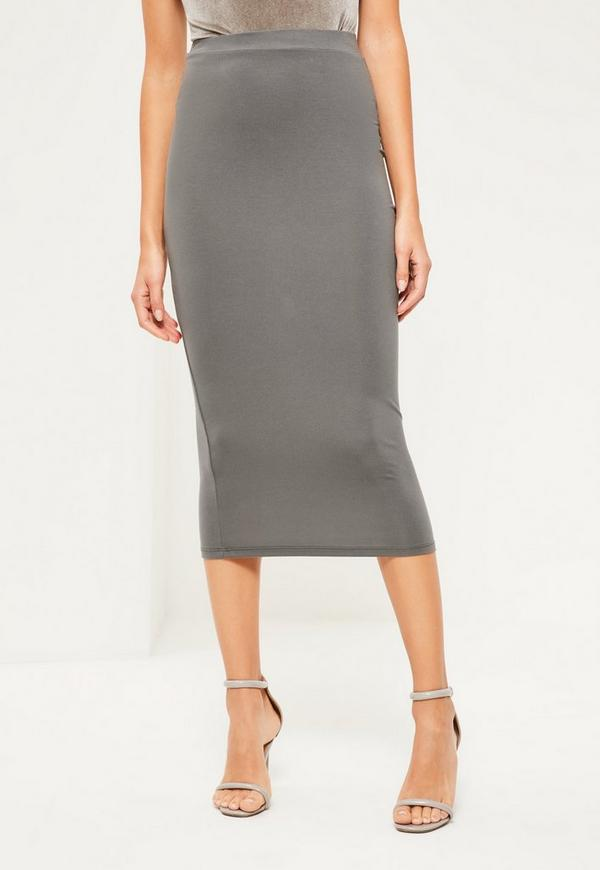 grey jersey longline midi skirt missguided