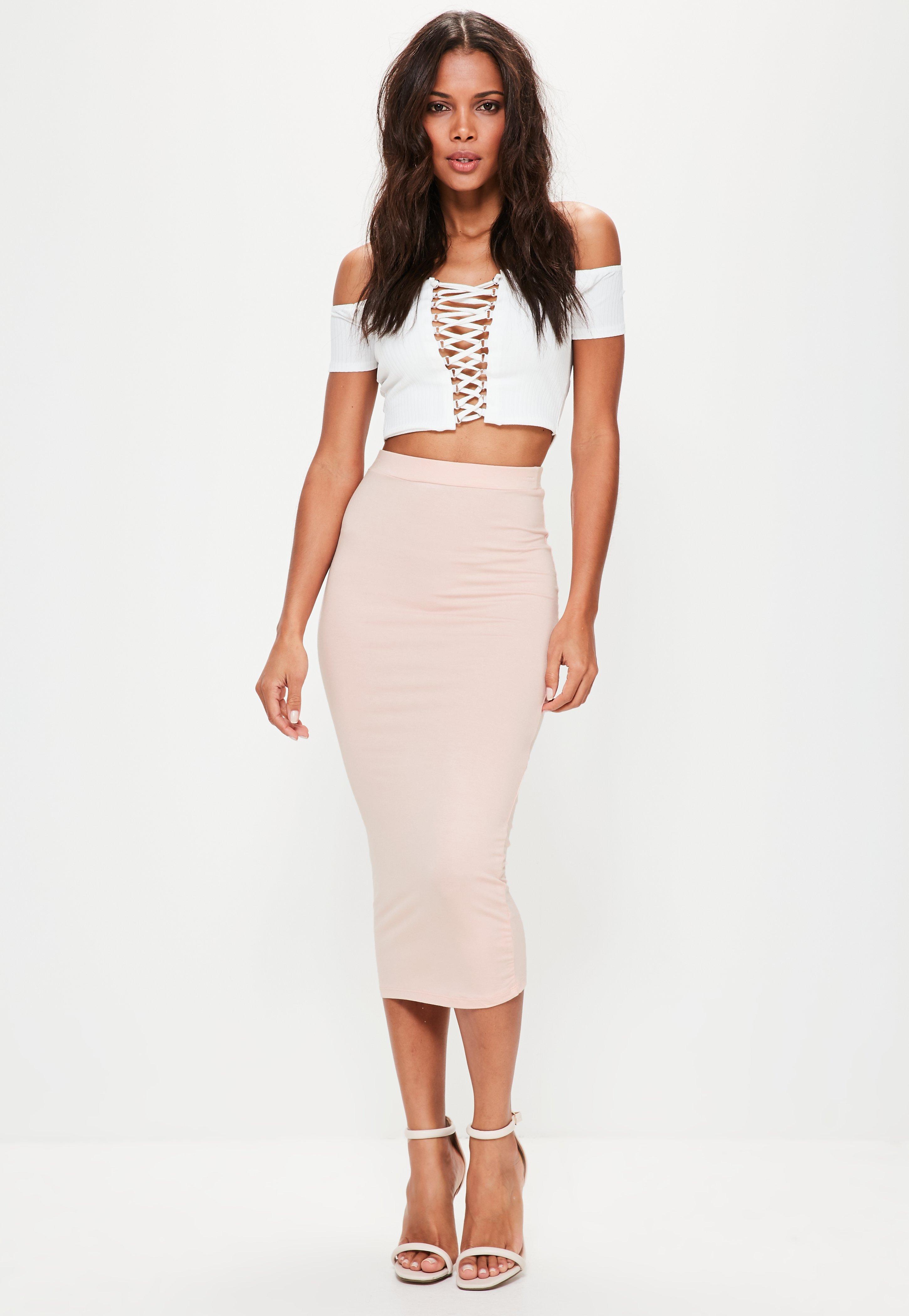 a8538698627 Longline Jersey Midi Skirt Khaki - Gomes Weine AG