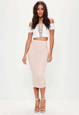 Pink Jersey Longline Midi Skirt