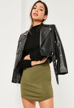 Khaki Ponte Curve Hem Mini Skirt