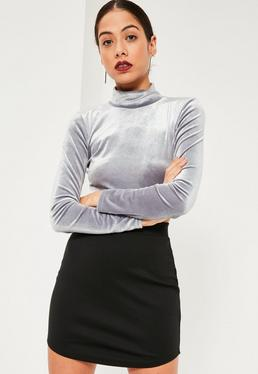 Black Ponte Curve Hem Mini Skirt