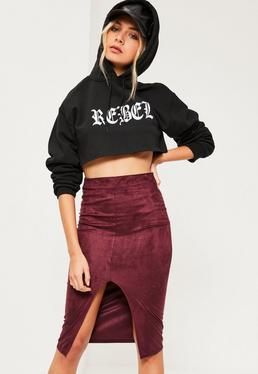 Burgundy Faux Suede Extreme Split Front Midi Skirt
