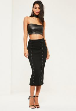 Black Crepe Hook Eye Detail Midi Skirt