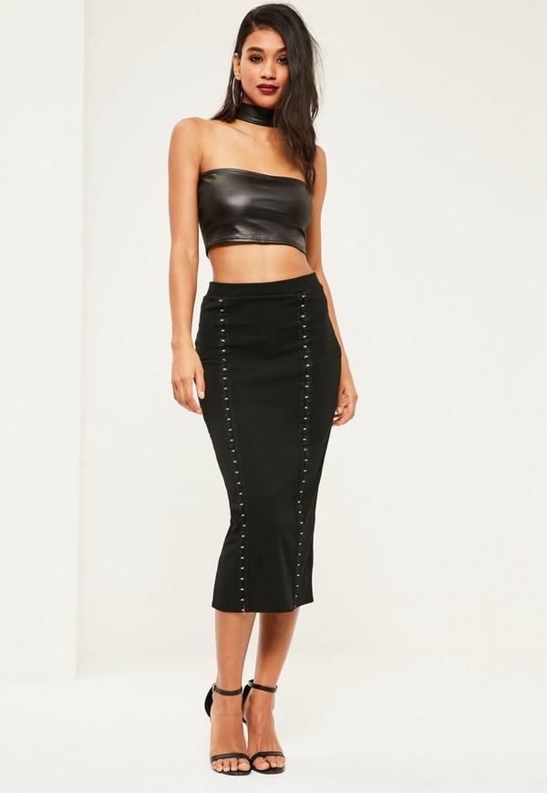 Black Crepe Hook Eye Detail Midi Skirt