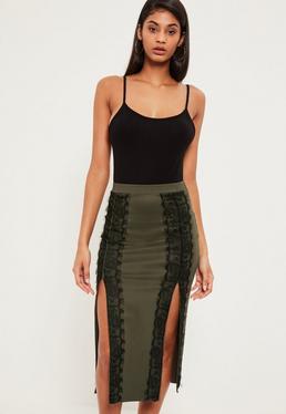 Khaki Ponte Lace Front Split Midi Skirt