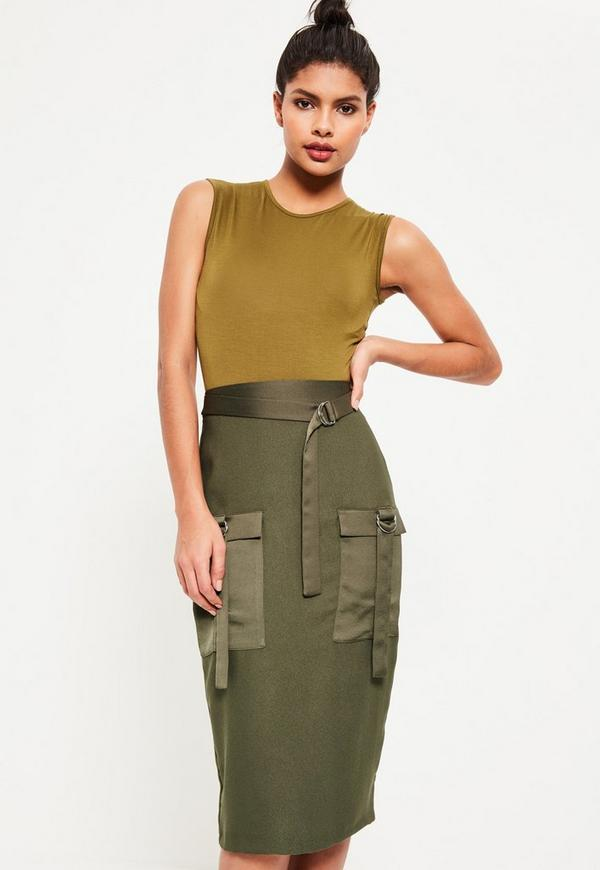 Khaki Utility Pocket Detail Crepe Midi Skirt