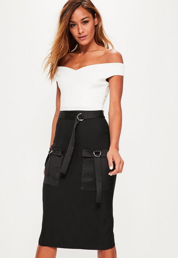 Black Utility Pocket Detail Crepe Midi Skirt