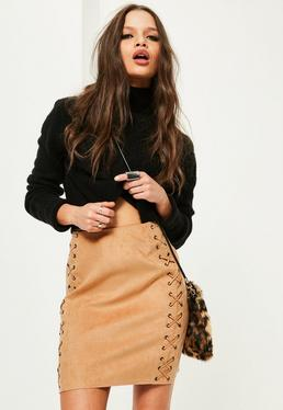 Tan Faux Suede Eyelet Lace Up Mini Skirt