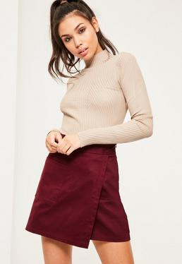 Burgundy Cotton Wrap Over Pocket Front Skirt