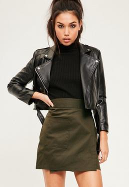 Khaki Cotton Wrap Over Pocket Front Skirt