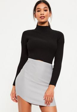 Grey Ribbed Curve Hem Mini Skirt