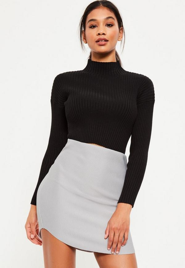 Grey Ribbed Curve Hem Mini Skirt