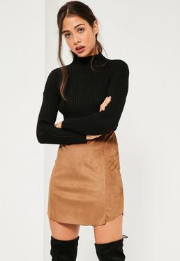 Tan Faux Suede Curve Hem Mini Skirt