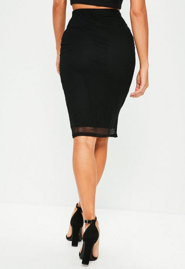 Black Lined Mesh Midi Skirt - Missguided
