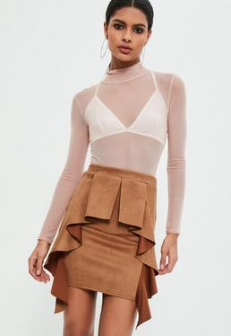 Brown Faux Suede Frill Detail Mini Skirt