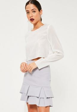 Grey Double Frill Hem Stretch Crepe Mini Skirt