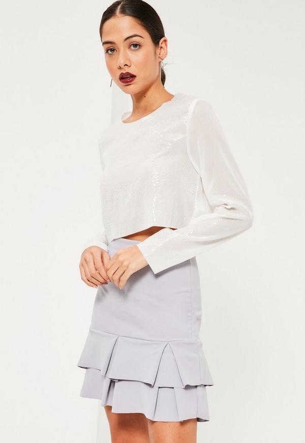 Grey Double Frill Hem Stretch Crepe Mini Skirt