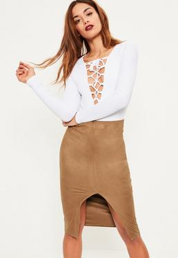 Brown Faux Suede Extreme Split Front Midi Skirt