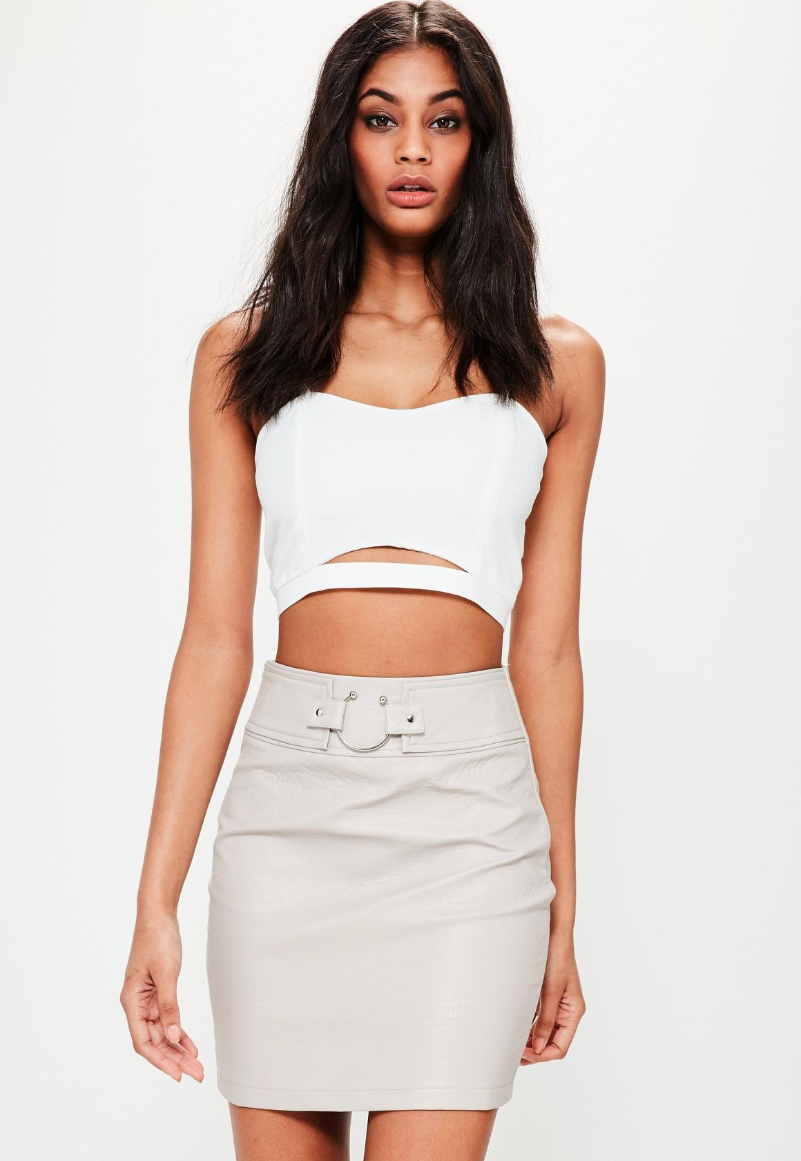 Cream Pierce Ring Belted Faux Leather Mini Skirt | Missguided