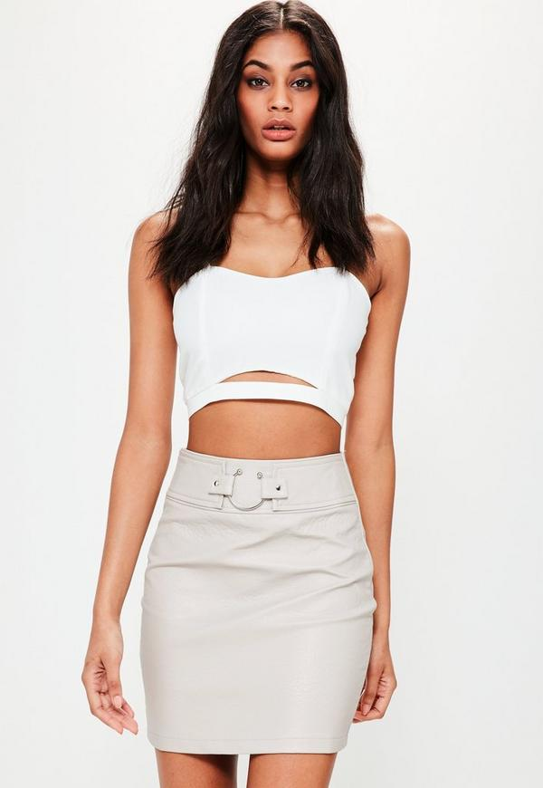 Cream Pierce Ring Belted Faux Leather Mini Skirt