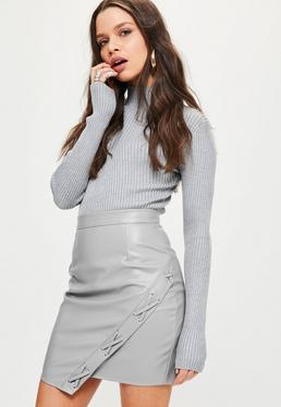 Grey Faux Leather Asymmetric Eyelet Detail Mini Skirt