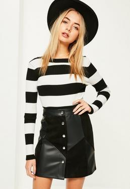 Mini-jupe noire en simili cuir et suédine