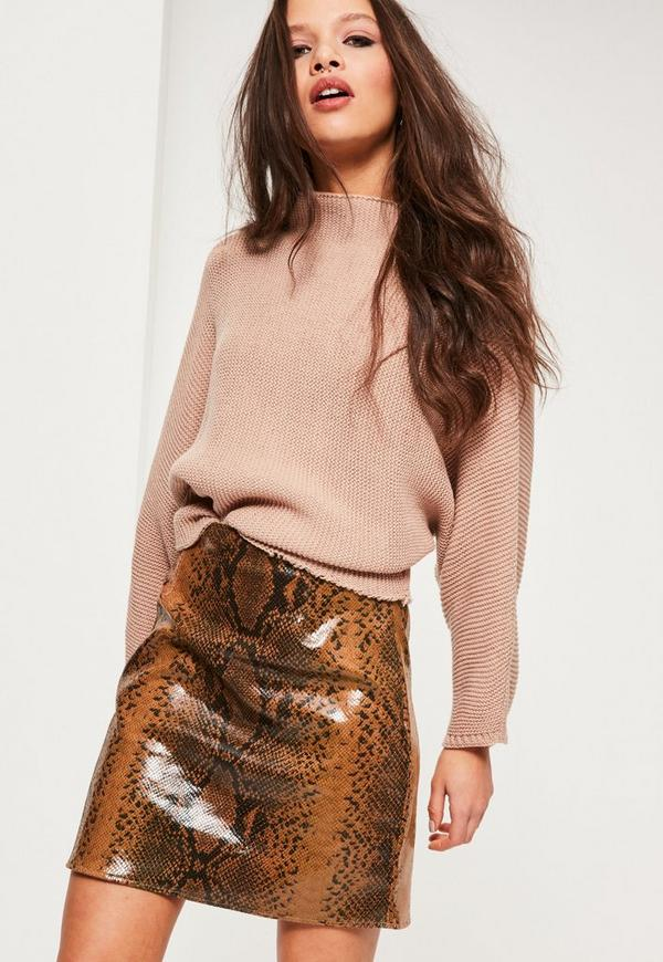 Brown Faux Leather Snake Effect Mini Skirt