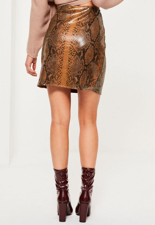 brown faux leather snake effect mini skirt missguided