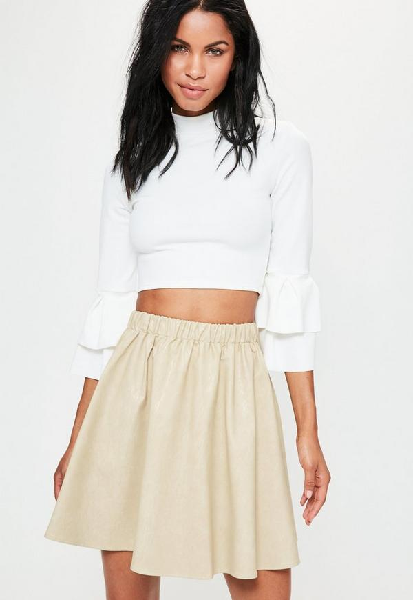 Cream Faux Leather Gathered Waist Mini Skirt