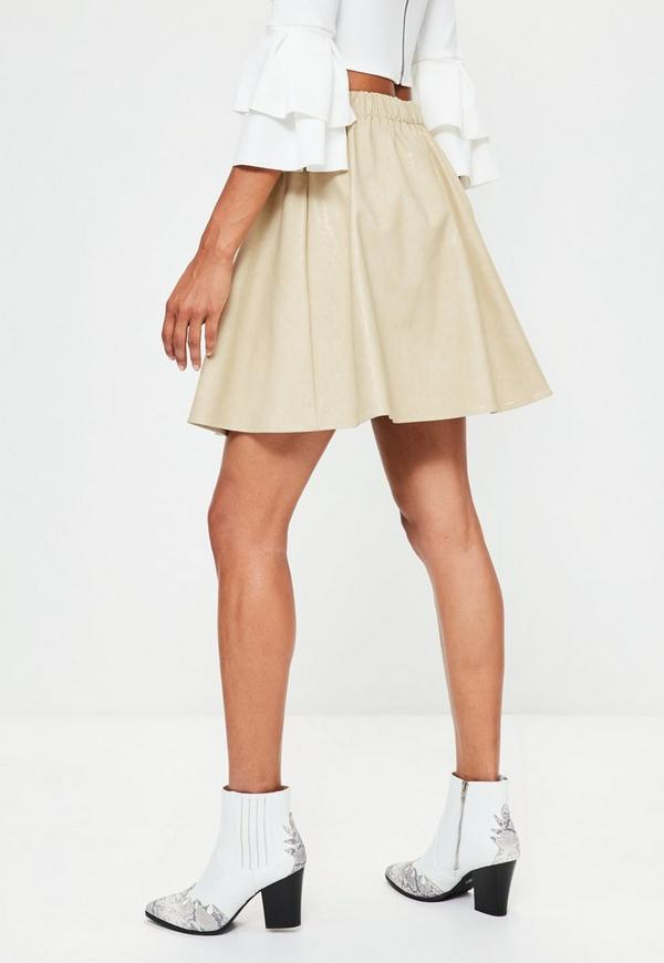Cream Faux Leather Gathered Waist Mini Skirt | Missguided