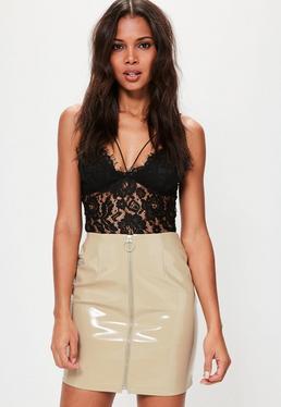 Cream High Shine Faux Leather Zip Through Mini Skirt