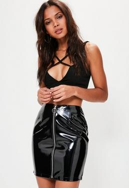 Black High Shine Faux Leather Zip Through Mini Skirt