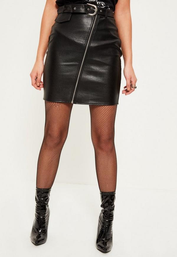 black faux leather biker detail mini skirt missguided