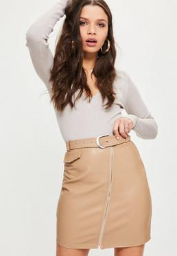 Nude Faux Leather Biker Detail Mini Skirt